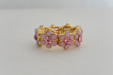 Flower Wreath Ring Pink with Rhinestones