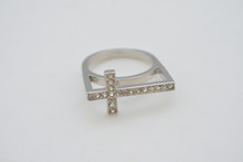 Rhinestone Cross Ring Silver Tone