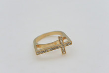 Rhinestone Cross Ring Trendy, Gold Tone