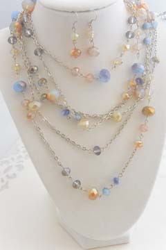 3 Piece Crystal Necklace and Earrings Set