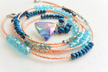 Swarovski Crystals Element Wrap Around Rose Gold Bracelet and Earrings Set in Royal Blue