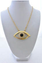 Evil Eye Long Necklace, Gold Tone