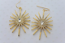 Snowflake Earrings Gold Tone