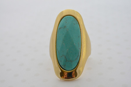 Bohemian Goddess Turquoise Ring in Gold Tone