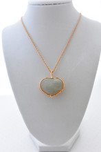 Green Quartz Heart Shape Necklace, rope gold tone chain