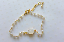 Ball and Link Pearl Bracelet White