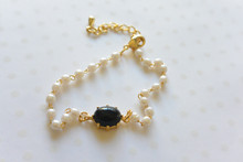 Ball and Link Pearl Bracelet Black