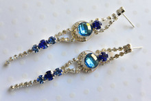 Austrian Glass Crystal Earrings in Sky Blue