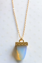 Pyramid Moonstone Necklace in Gold
