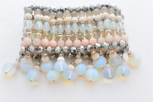 Moonstone Gemstones Swarovski Elements Crystals Arm Candy Bracelet