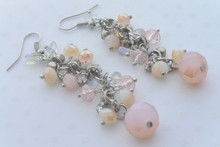 Swarovski Crystals and Rhinestones Cluster Dangle Earrings Smoky Pink