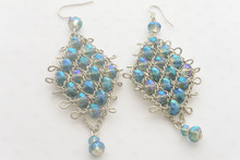 Royal Blue Diamond Shape Swarovski Crystals Vintage Earrings