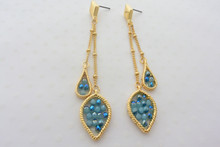 Double Chain Leaf Earrings in Smoky Blue