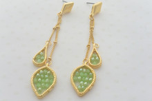 Double Chain Leaf Earrings in Smoky Green
