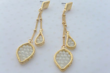 Double Chain Leaf Earrings in Iridescent White