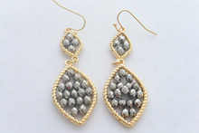 Leaf Swarovski Crystal Beads Earrings in Marcasite