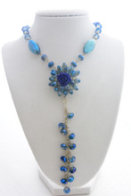 Swarovski Crystals Flower Long Necklace in Mystic Royal Blue