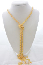 Diamond Cut Ball Link Multi Row Long Tassel Necklace in Gold