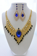 Royal Blue Gem Peacock Necklace and Earrings Set with Brilliant Rhinestones and Crystals
