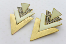 Aztec Rhinestone Embellished V Shape Patten Earrings in Antique Gold and White
