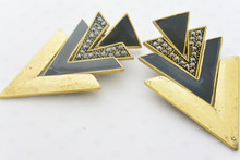 Aztec Rhinestone Embellished V Shape Patten Earrings in Antique Gold and Black