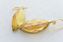 Swarovski Crystal Gold Wire Earrings in Mystic Yellow