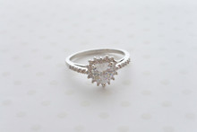 Heart Cubic Zirconia Dainty Engagement  Ring in Silver