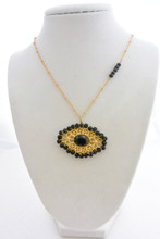 Dainty Onyx Swarovski Crystals and Beads Filigree Necklace