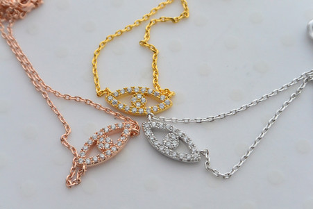 CZ Evil Eye Necklace in Gold, Rose Gold and Silver
