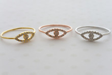 CZ Evil Eye Ring in Gold, Rose Gold and Silver