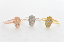 CZ Hamsa Hand  Ring in Gold, Rose Gold and Silve