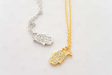 CZ Hamsa Hand Dainty Necklace in Gold and Silver