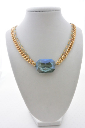 Swarovski Crystal Bracelet/Necklace Double Chain Gold Necklace in Royal Blue