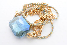Swarovski Crystal Bracelet Double Chain Gold Necklace in Royal Blue