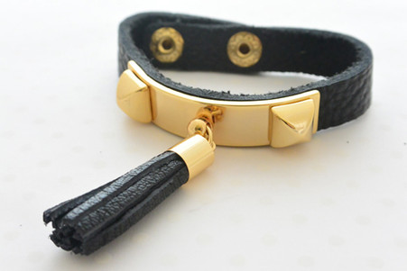 Leather Bracelet with Black Tassel