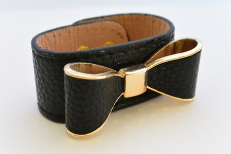 Leatherette Bow Bracelet Black