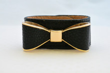 Black Leatherette Bow Bracelet with Gold Accents