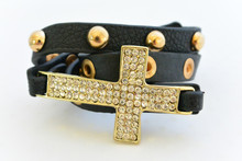 Rhinestone Cross Studded Leatherette Bracelet Black