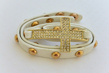 White Leatherette Cross Bracelet With Brilliant Rhinestones