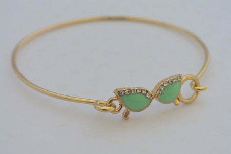 Glasses Charm Bracelet Mint Green