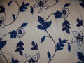 Crewel Tan and Midnight Blue Floral Fabric 6 Yards