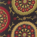 Regal Fabric Suzette Black 15 YARD MINIMUM ORDER! 60% Cotton   25% Polyester  15% Rayon - Suzani Jacquard  H: 28 inches     V: 17 inches 54  - My Fabric Connection -  Regal