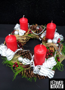 Christmas advent wreath in red