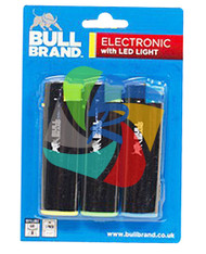 Bullbrand 3 Lighters with LED Torch on a Euro Display Card - 26 pack