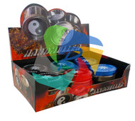 Assorted Colours 3 part Metal Large Grinders with leather Tattoo Designs - 6 pack (GR079)