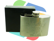 Welsh Dragon embosed Design 4oz Stainless Steel Hip Flask - singles (HF004)
