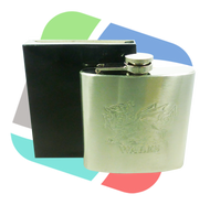 Welsh Dragon embosed Design 6oz Stainless Steel Hip Flask - singles (HF005)