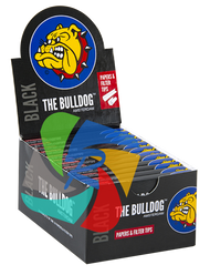 The Bulldog 1 1/4 Slim Black Papers  with Tips x24 Booklets