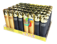 Clipper Electronic Lighters Gold & Black Colours -  40 pack
