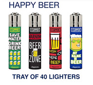 Clipper Flint Lighters with HAPPY BEER  Design -  40 pack